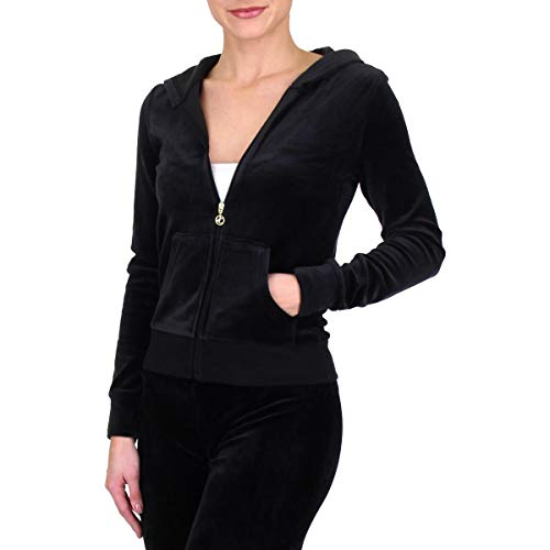 Juicy Couture Roberston Womens Velour Hoodie Jacket Black Size - Velour Zip Black Jacket