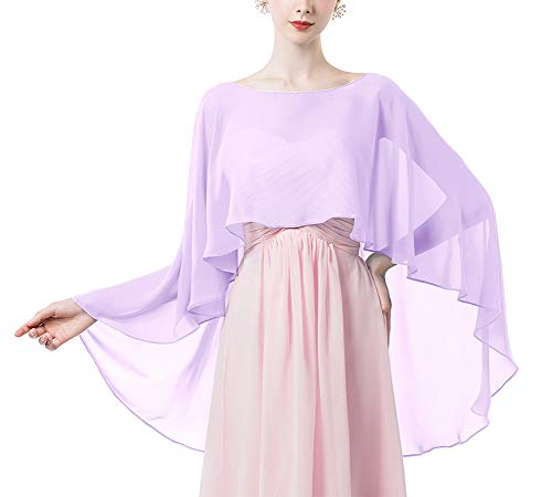 Women Shawl Wrap Wedding Capes Sheer Chiffon Shrug for Dresses Cover Up Lavender