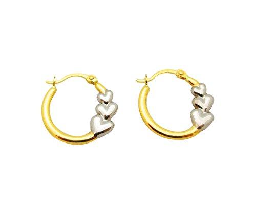 10k Two Tone Gold Women's Ladies Hoop Earrings ()