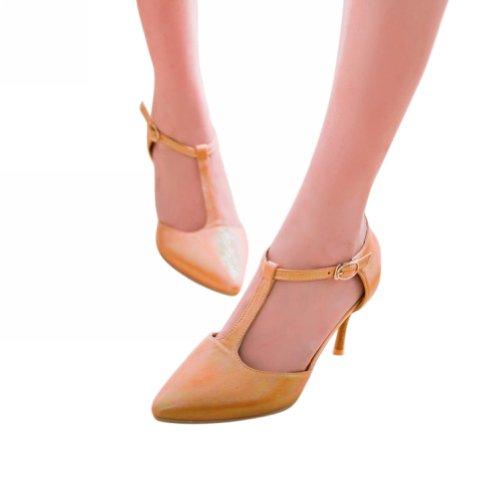 Charme Voet Mode Dames Mary Jane Hoge Hak Pumps Puntige Schoenen Oranje