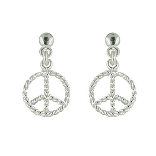 (925 Solid Sterling Silver Peace Sign / Symbol Dangle Stud Earrings - Dangling Mini Love Unisex Jewelry)