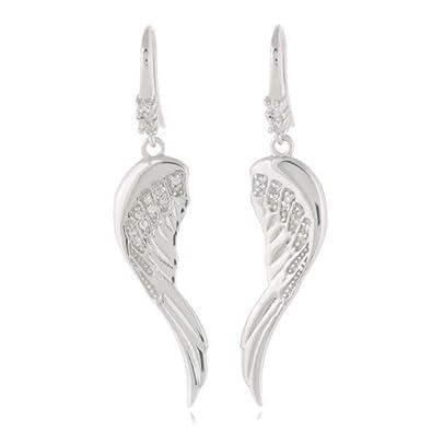 Sterling Silver Angel Wing Dangle Earrings szlHD
