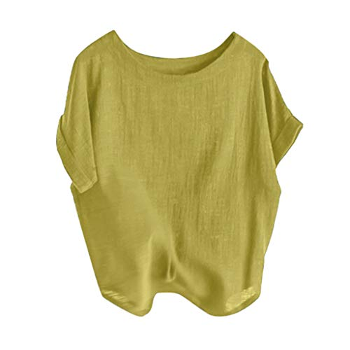 POHOK Women Off Shoulder Blouse Fashion Women Casual Solid Color Loose O-Neck T-Shirt Shorts Sleeve Tops(L,Yellow)