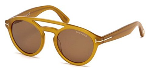 Tom Ford 537 41E Shiny Amber Clint Round Sunglasses Lens Category 2 Size - Sunglasses Clint