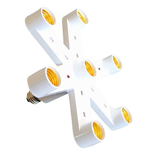 Chandelier Ceiling Lamp Bulb Base Adapter, Sameno 7-in-1 Light-Bulb Splitter E27 Base LED Converter Adapter Socket Splitter Holder (White)