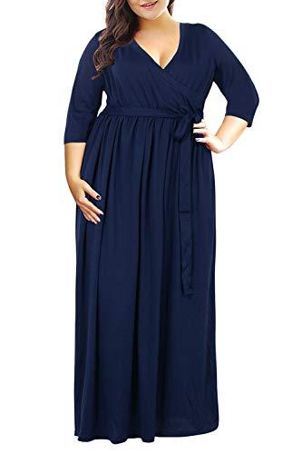 Nemidor Women's 3/4 Sleeve V Neckline Plus Size Casual Party Maxi Dress (Navy, 24W)