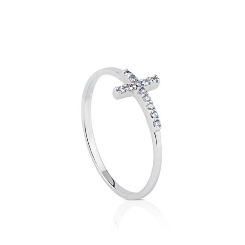 FANCIME 14K White Gold Plated Cubic Zirconia CZ Small Thin Stackable Sideway Cross Ring Fashion Jewelry Gift for Women Teens Girls, Size 6 ()