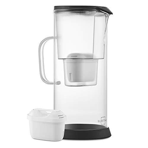 SILBERTHAL Waterfilterkan, glas, karaf met filter, waterfilter 2,7 l, glazen kan met filter