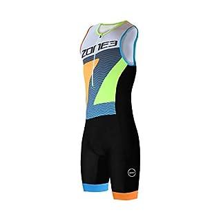 Zone3 Men's Lava Long Distance Trisuit, Limited Edition-Black/White/Orange/Blue/Yellow, S