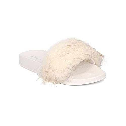 96b13af85261 Women Fuzzy Slipper - Furry Slide - Footbed Flat Sandal - GH71 By Nature  Breeze hot