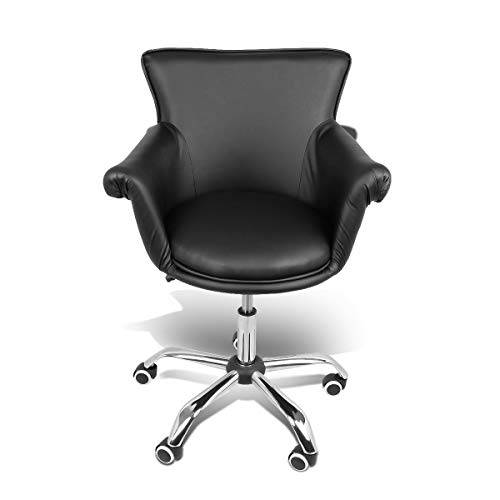 - Magshion Deluxe Microfiber Office Desk Chair Bar Stool Beauty Nail Salon Spa Vanity Seat (PU Leather Black)