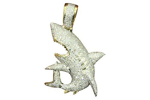10k Yellow Gold Diamond Shark Fish Pendant (2.53cttw, H-I Color, SI2-I1 Clarity) 1.5