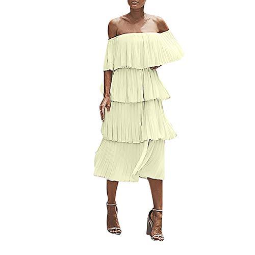 TUSANG Women Skirt Fashion Chiffon Off Shoulder Ruffles Solid Evening Party Layered Dress Loose Flowy Dress(Yellow,Yellow)