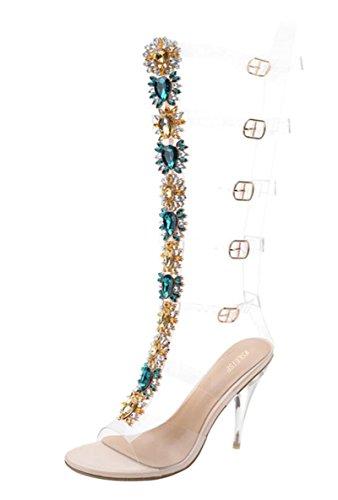 Women's Knee High Gladiator Sandals Cutout Rhinestone Transparent Stiletto High Heel Strapy Sandal Boots Size US7 EU38