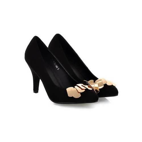 5 Pumps Metalornament M PU WeiPoot Closed US High with B Toe Frosted Solid Heel Black Po2015ted 4 Womens wzwqP6