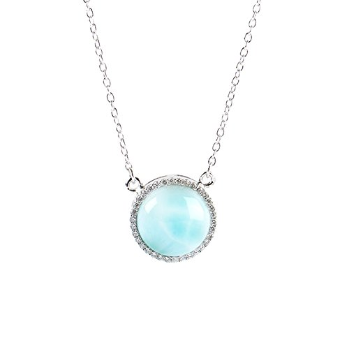 Sterling Silver Larimar Pendant Necklace Round Blue Natural Genuine Fashion Gemstones Hand Made Larimar Jewelry for Women and Girl Classic Larimar Pendant Necklace with 18