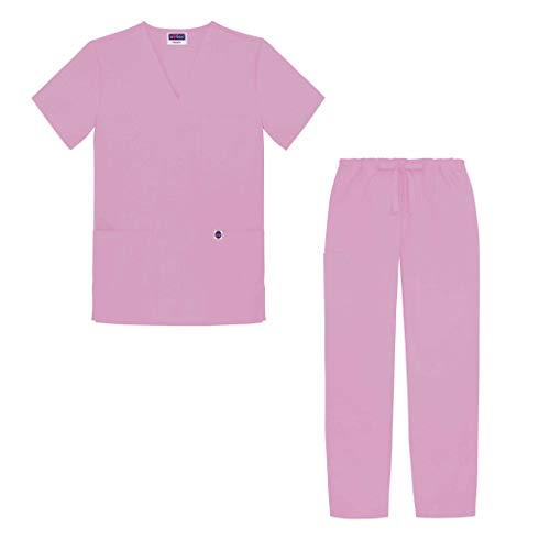 Sivvan Unisex Classic Scrub Set V-Neck Top/Drawstring Pants (Available in 12 Solid Colors) - S8400 - Sherbet - XXS