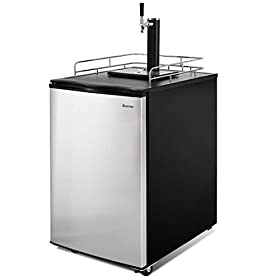 COSTWAY Full Size Kegerator, 6.1 CU. FT Single-Tap Keg Beer Cooler Refrigerator Draft Beer Dispenser