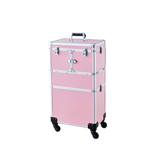 Makeup Case - 2 In 1 Aluminum Professional Cosmetic Organizer Box With Folding Trays and Removable Lid Pink