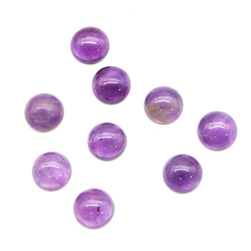 (JETEHO 20Pcs Stone Cabochons 8mm Natural Stone Round Cabochons Flatbacks Amethyst Gemstone Dome Cameos for Jewelry Making)
