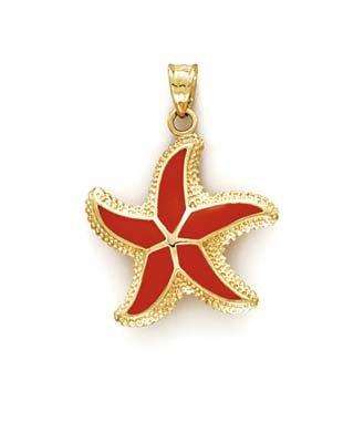 Émail 14 Carats Pendentif étoile de mer-JewelryWeb