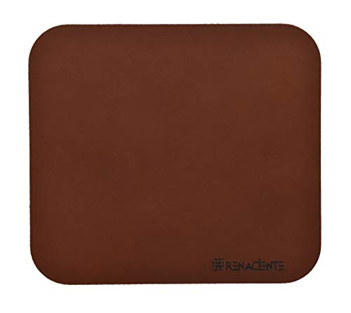 (RENACIENTE Genuine Leather Mouse Pad (9x8 in.) Natural Vegetable Tan, Top Grain Leather. Made in)