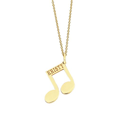 10k Yellow Gold Dainty Musical Beam Notes Disc Pendant Personalized Laser Engraving (Solid Yellow Gold Musical Notes)