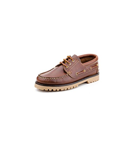 Zapatos Náuticos de Piel para Hombre Piso Grueso, mod.848, Made in Spain, Garantia de Calidad. Beirado