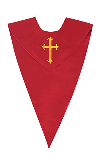 IvyRobes Unisex One-Color V Shape Choir Stole With Cross Red