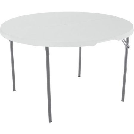 Lifetime 48'' Round Fold-In-Half Table | Frame is Powder-Coated and Caps Prevent Floor Damage (48'', White Granite) by LifetimepProducts.