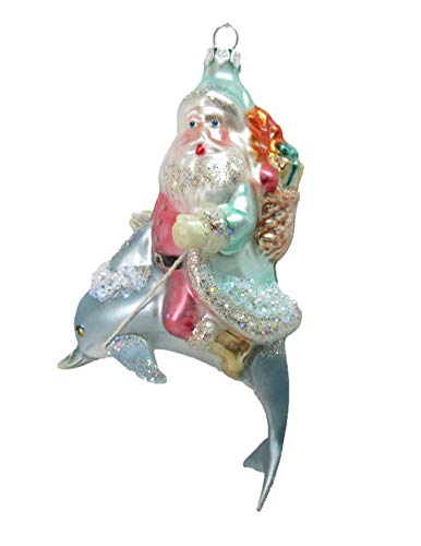 December Diamonds Santa on Dolphin Bearing Gifts Holiday Ornament Glass (Ornaments Dolphin Glass)