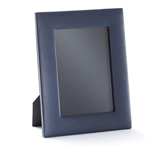 Photo Grain Leather - 5X7 Portrait Photo Frame - Full Grain Leather - Navy (Blue)