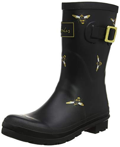 Joules Women's Molly Welly Rain Boot (9, Black Metallic Bees)
