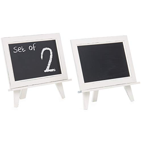 White Table Chalkboard - MyGift 13-Inch White Wood Tabletop Easel Stand with Removable Chalkboard Sign, Set of 2