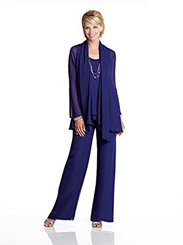 Royal Blue Chiffon Pants Suits With Bolero Mothers Wedding Dresses Formal Evening Party Mother Of The Groom Dress Vestido