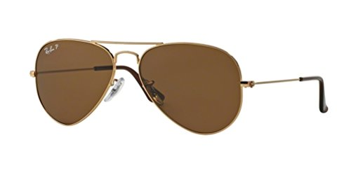 Ray-Ban RB3025 Aviator Large Metal Unisex Polarized Aviator Sunglasses (Gold Frame/Crystal Brown Polarized Lens 001/57, - Ray Aviator Lenses Ban
