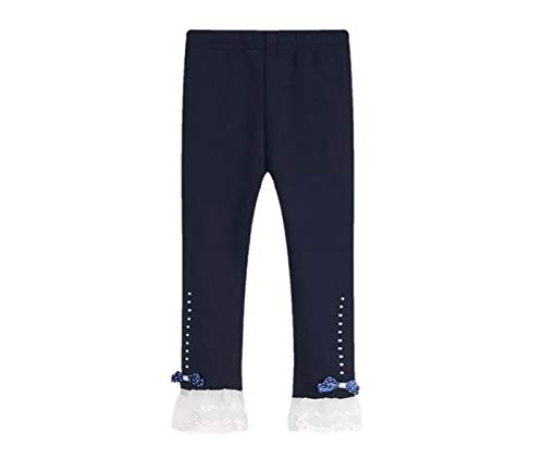 Toddler and Girl Lace Ruffle Capri and Full Length Leggings. (Ankle Ruffle Navy, 5T)