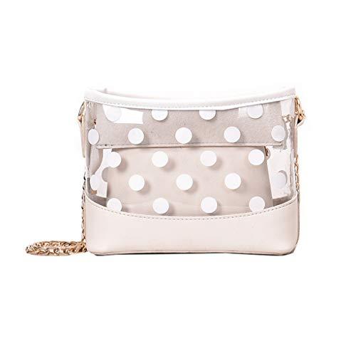 Women's Princess Fashion Trend Jelly Transparent Bag Dot Package Super Chain Messenger Bag White]()