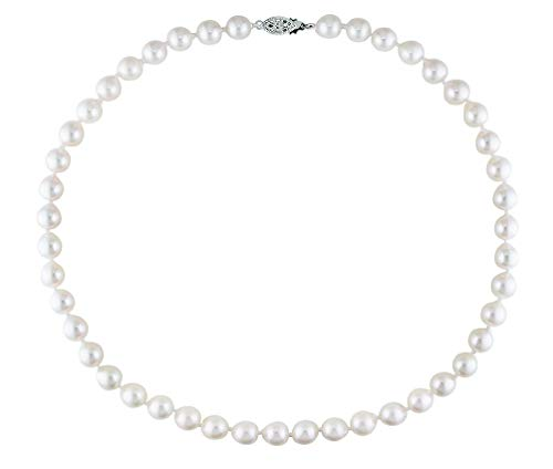 7-7.5mm Baroque White Akoya Saltwater Cultured Pearl Necklace AA+ Quality Sterling Silver Clasp, - Clasp Necklace Silver Baroque Pearl