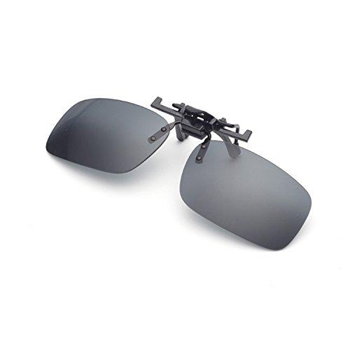 Night Driving Clip on Glasses – Anti-Glare Polarized Lens Metal Clip Sunglasses for Prescription Glasses (Sunglasses Clip on)