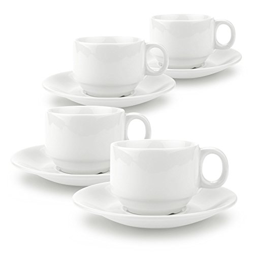 T4U 2 Ounce Simple Espresso Cups and Saucers with Handle Tea Cup and Saucer Fine Durable Porlecain White sets of 4 Shape Demitasse Saucer