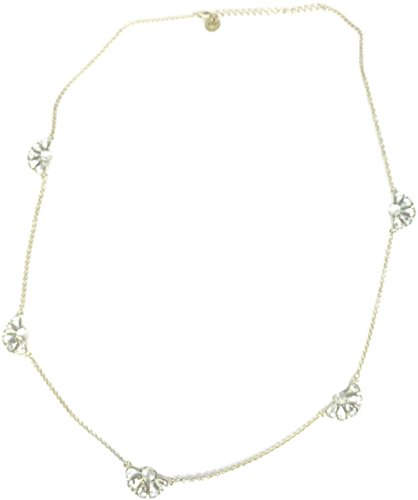 Abercrombie and Fitch gold tone AB crystal flower crystal long strand necklace, 30