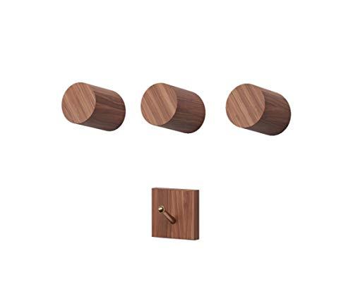 Black Walnut Wooden Wall Mounted Coat Hooks - 3 Pack, Bonus of 1 Key Hook, Towel or Hat Rack, Keychain Hooks, Hooks for Hanging Hats, Caps, Headphones, Jackets, Purses, a Kitchen & Wall Organizer