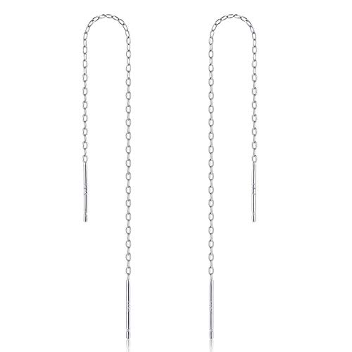 (Gintan Sterling Silver 1mm Threader Earrings, 4 Inch (Silver))