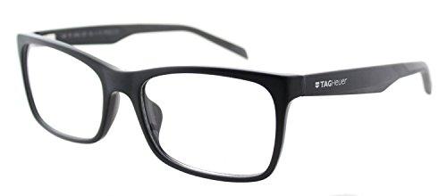 Tag Heuer B Urban 0554 Rectangle Unisex Comfortable Eyeglasses Frames (Black/Grey, - Tag Eyeglasses