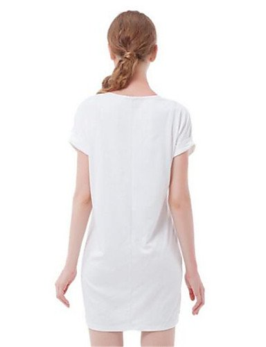 PU&PU Robe Aux femmes Ample Simple,Rayé Col Arrondi Au dessus du genou Polyester , white-one-size , white-one-size