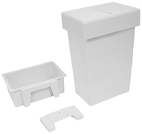 Hafele Vanity Trash Can with Self-Closing Lid, 8 qt Capacity, White