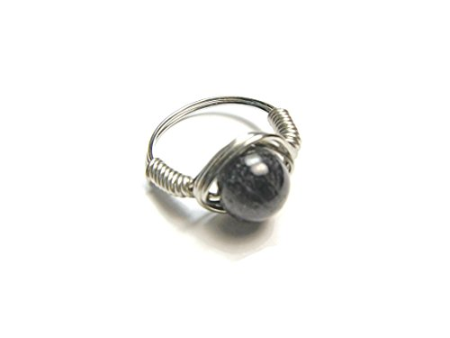 Blue Iolite Ring for Women - Silver Jewelry for Women - Wire Wrapped Ring - US Size 7
