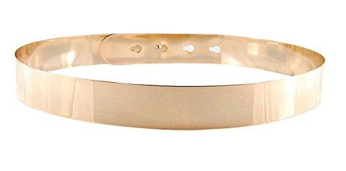 Kobwa(TM) Woman Shiny Mirror Metal Decor Stud Button Wide Slim Waist Gold - Belt Big Gold