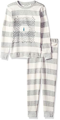 Girls Holiday Pajamas (Petit Lem Kids' Little Holiday Unisex 2-Pc Pajama Set, Comfy, Cute & Cozy, lightheather Grey,)